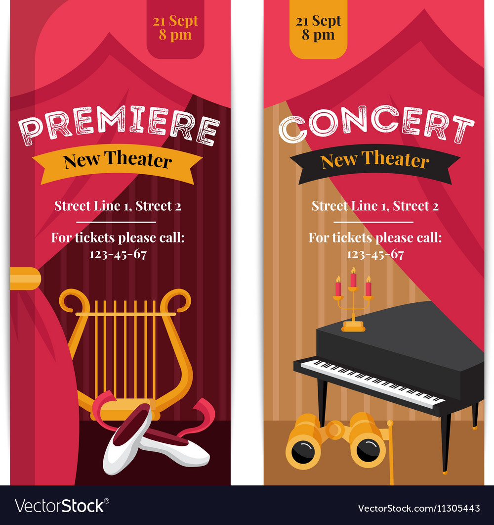 Theatre Poster Banners Set vector image