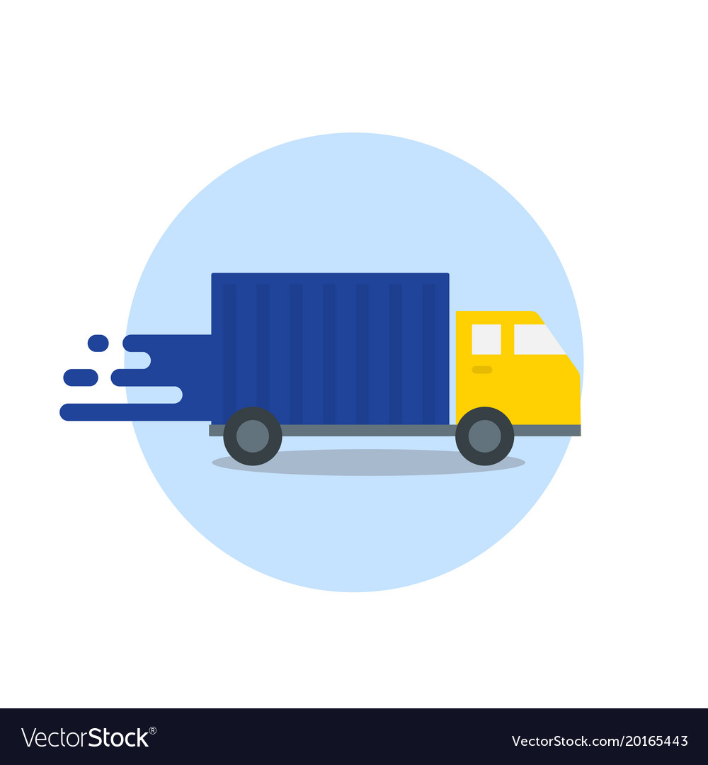 Truck in motion express delivery fast shipping