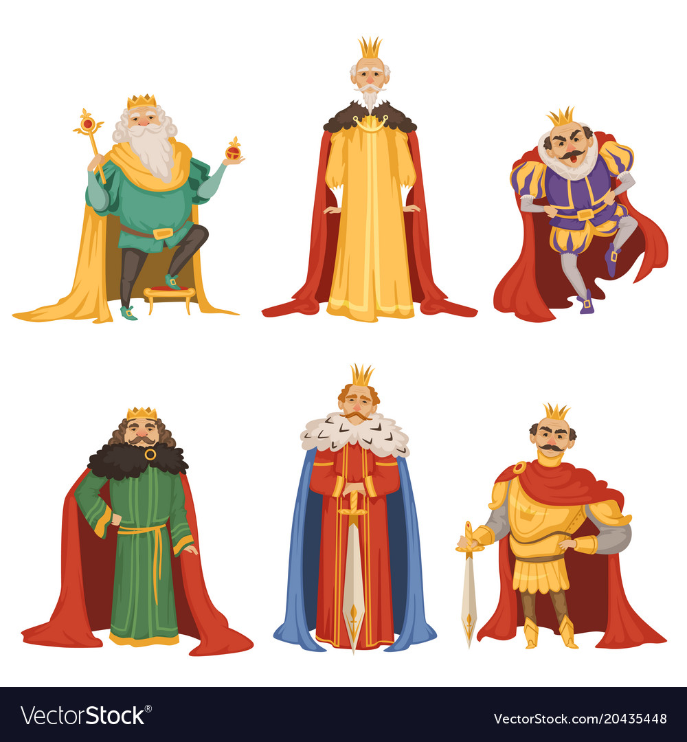 Cartoon characters of big king in different poses vector image