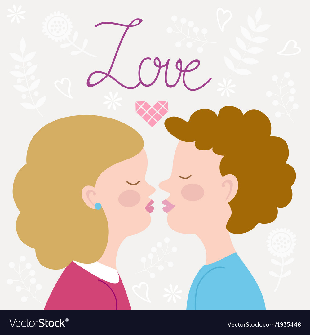 Children couple kissing vector image