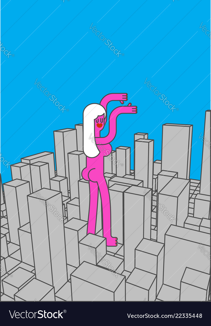 City and big woman abstract skyline and monster