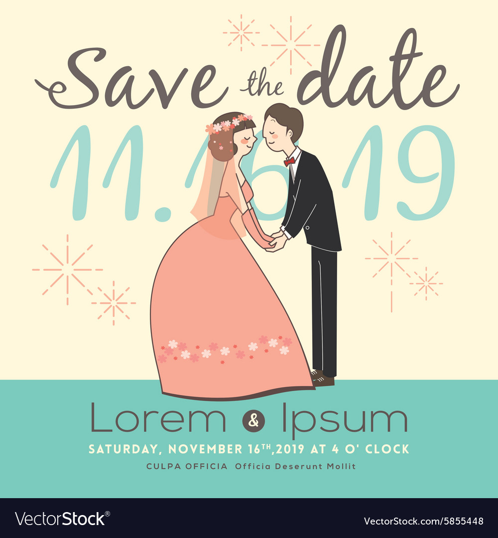 Cute groom and bride cartoon save the date