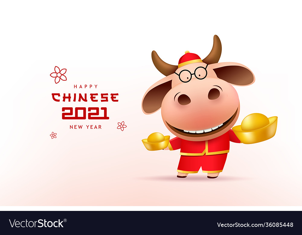 Cute male cow chinese new year 2021