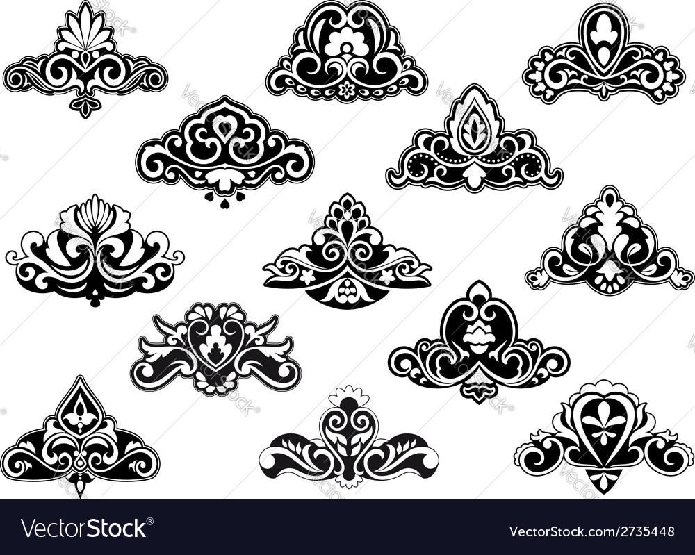 decorative floral design elements and motifs vector image