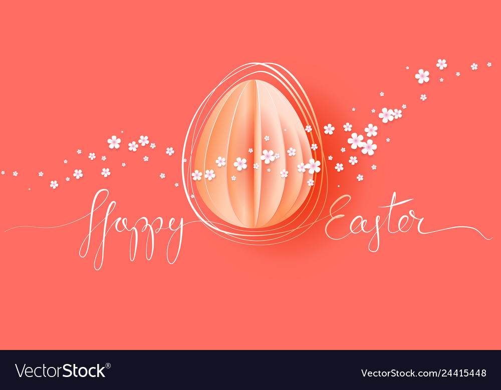 Happy easter card hand drawn line with paper egg