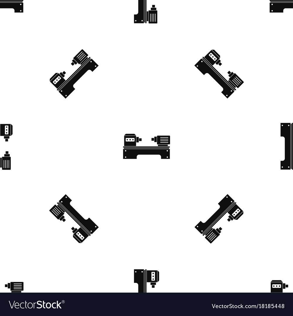 Lathe machine pattern seamless black vector image