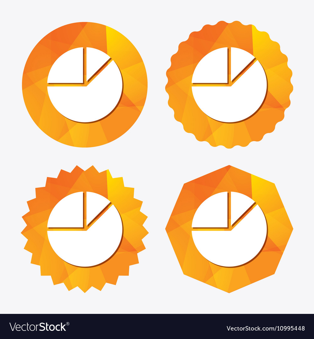Pie Chart Graph Sign Icon Diagram Button Vector Image
