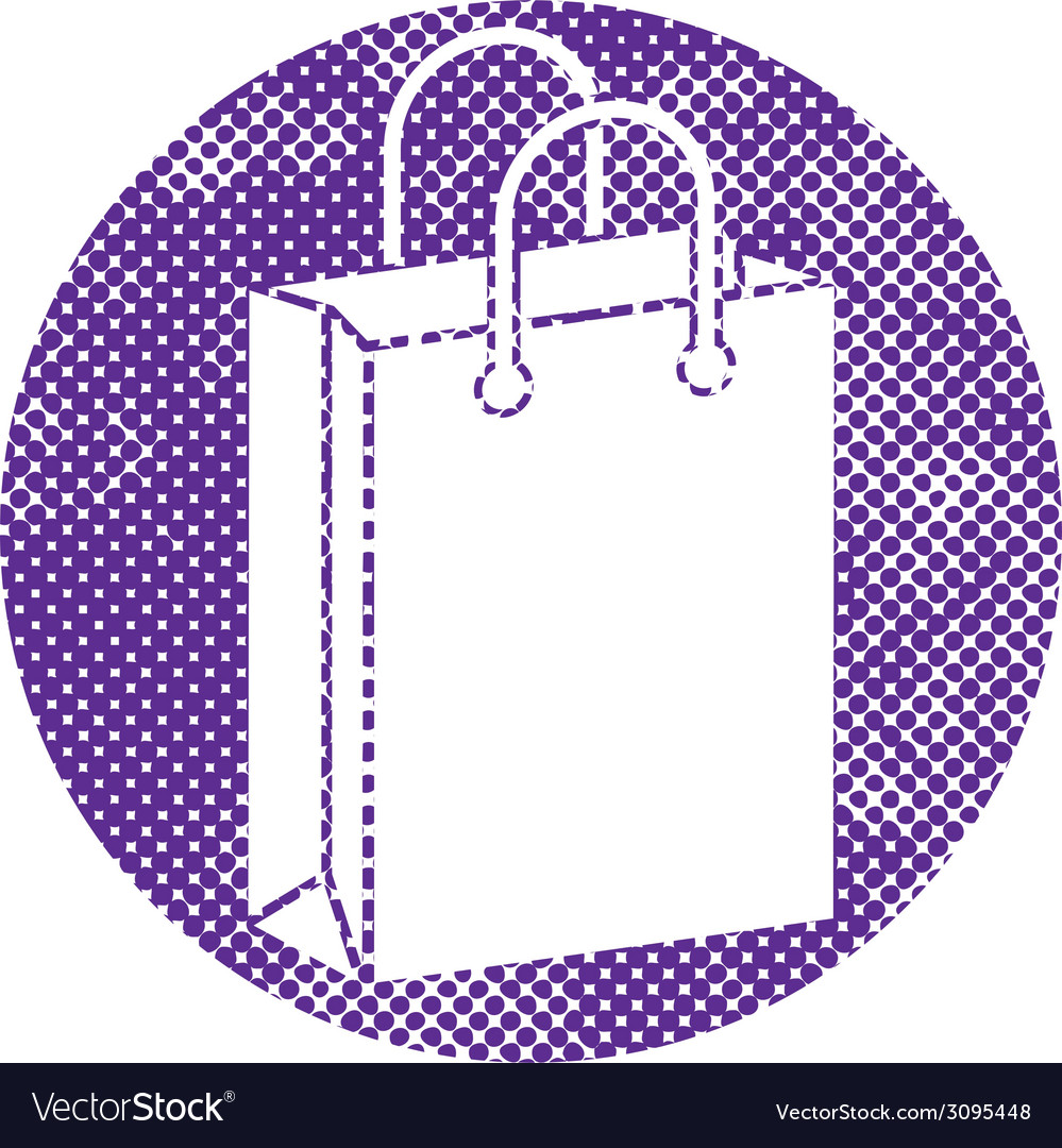 Shopping Bag icon with pixel print halftone dots
