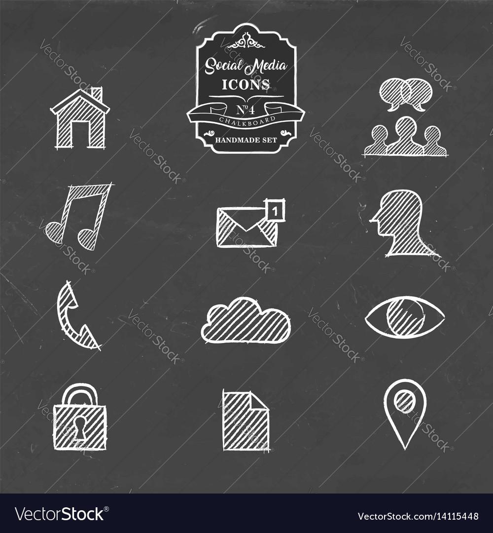 Social media network handmade sketch icon set