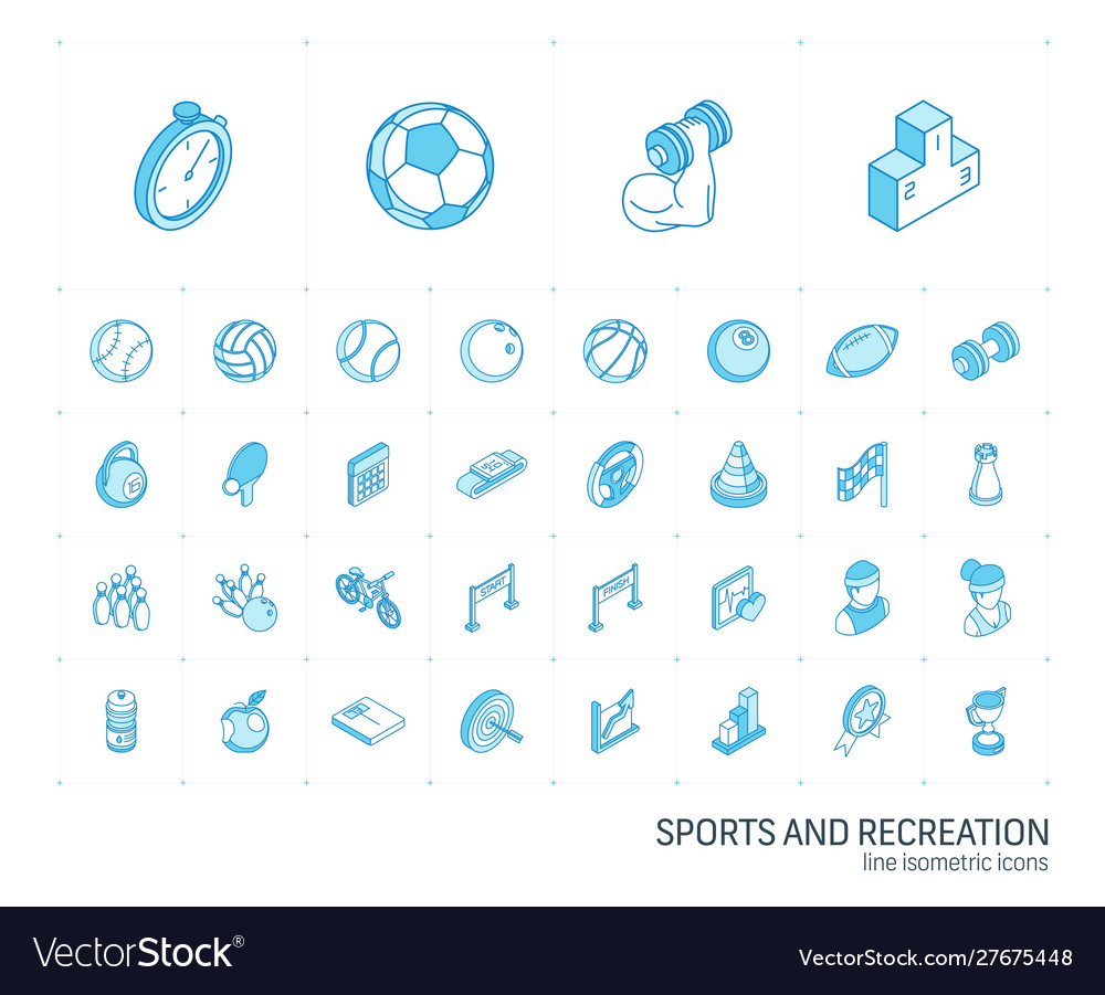 Sport and fitness isometric line icons 3d
