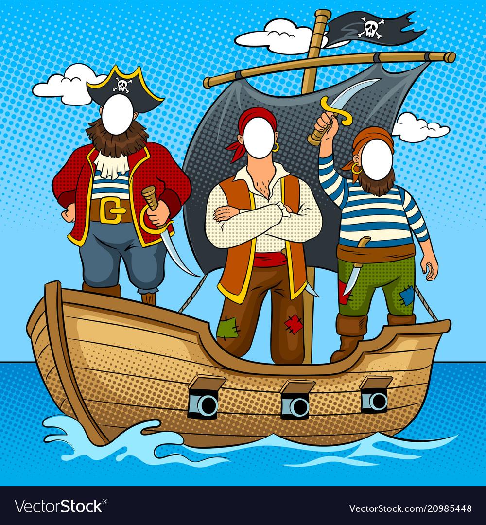 Tantamaresque pirates on boat pop art