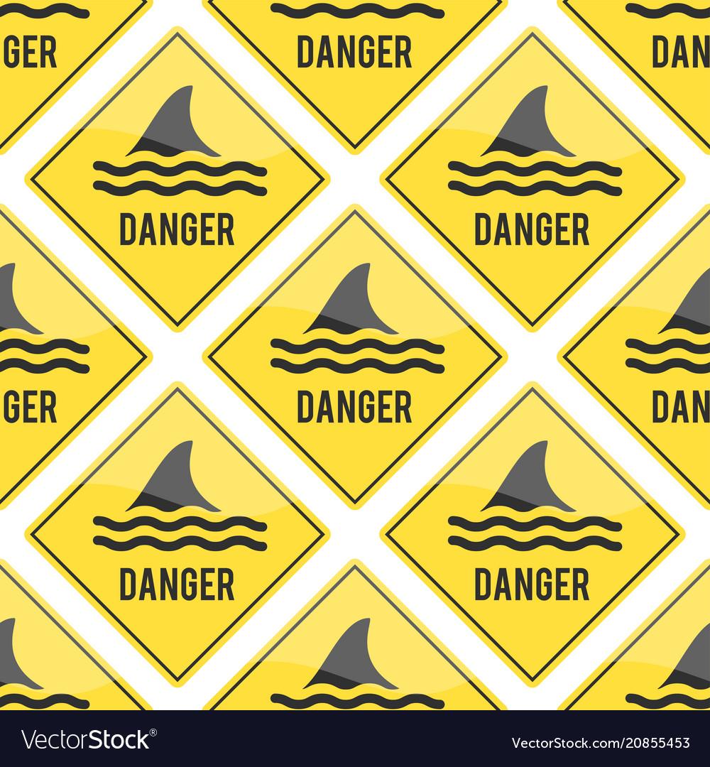 Attention shark fin flipper sign icon