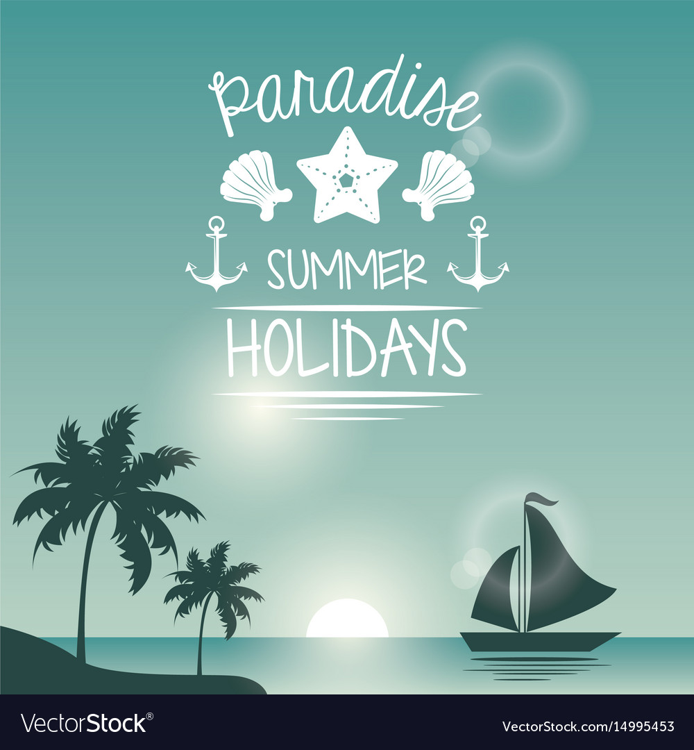 Blue color poster seaside with yacht and logo text