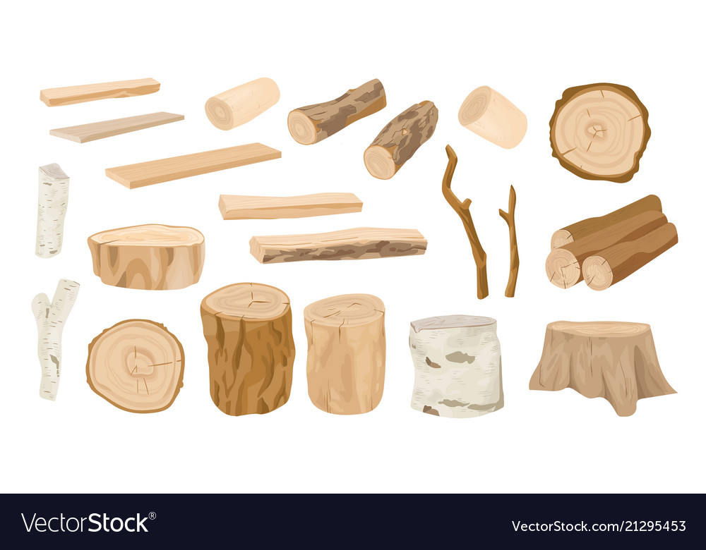 Collection of wooden logs tree branches lumbers