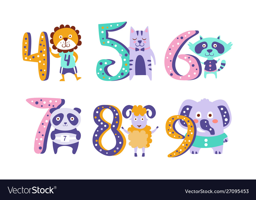Cute kids anniversary numbers with animals lion