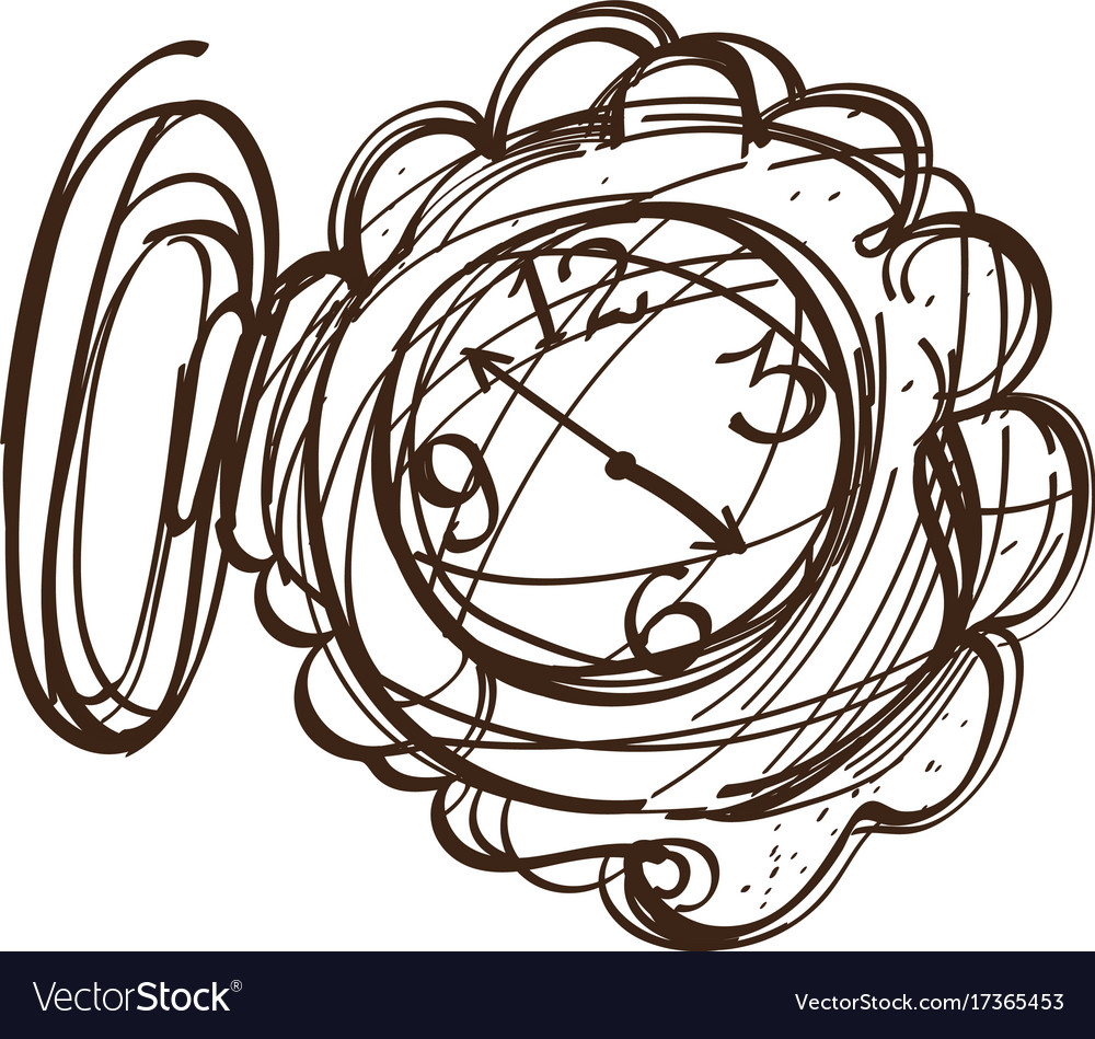Fairy Pocket Watch Black And White Outline Of A Vector Image