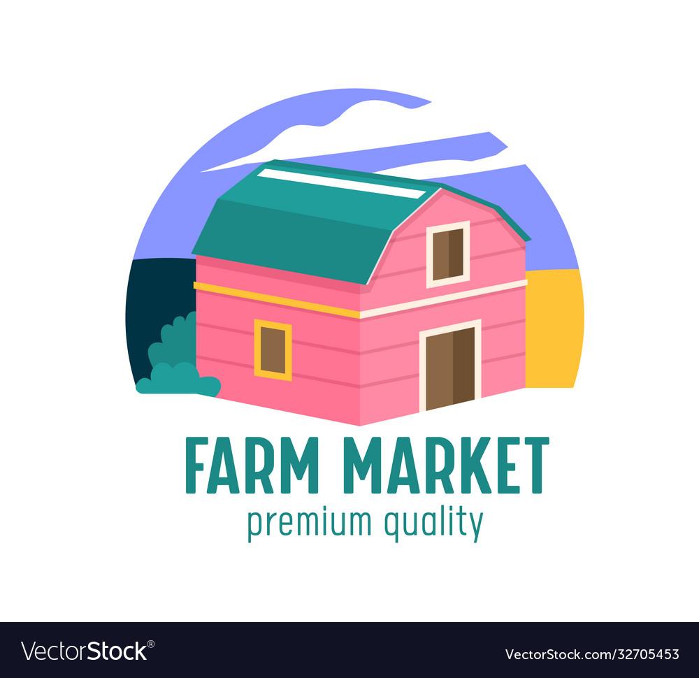 Farm or farmer market banner with wooden barn