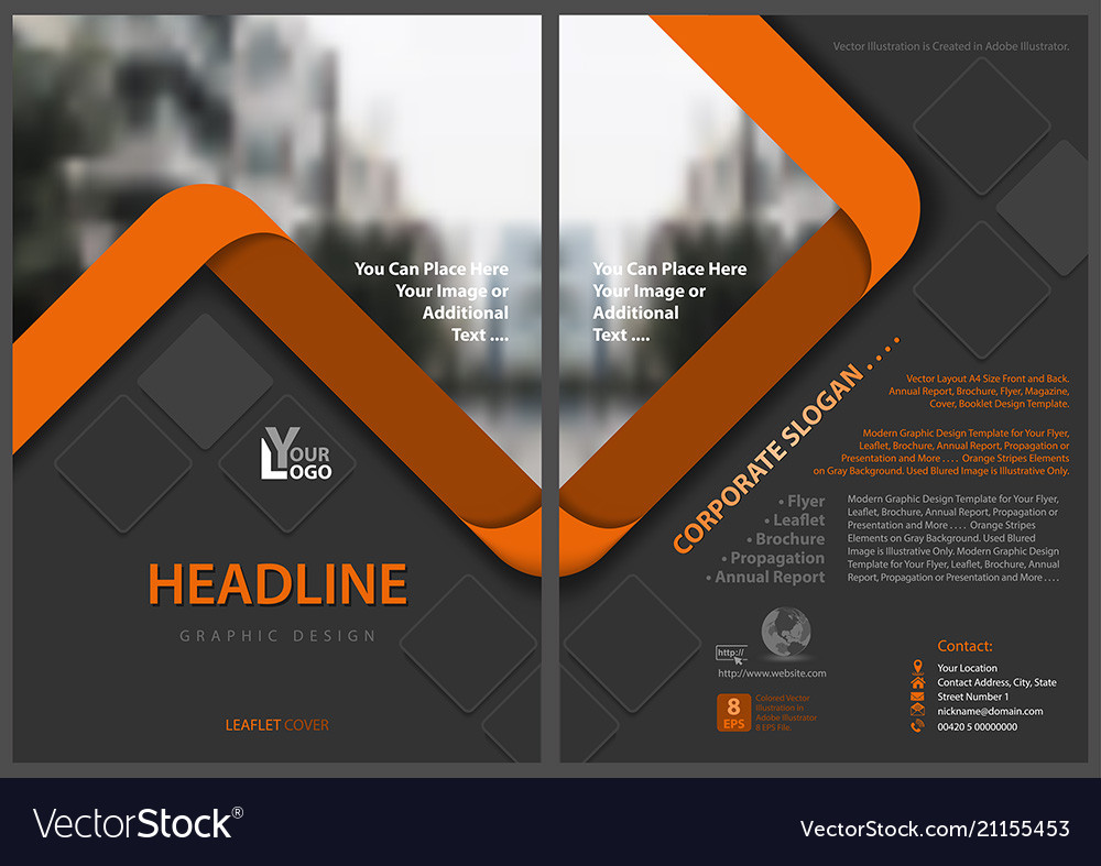 Flyer template with orange stripes