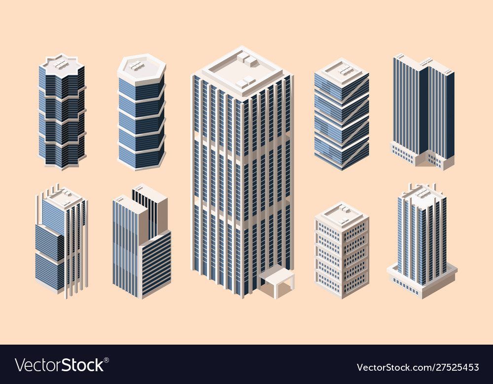 High rise buildings isometric