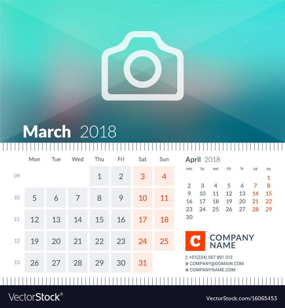 March 2018 calendar for 2018 year week starts on vector image
