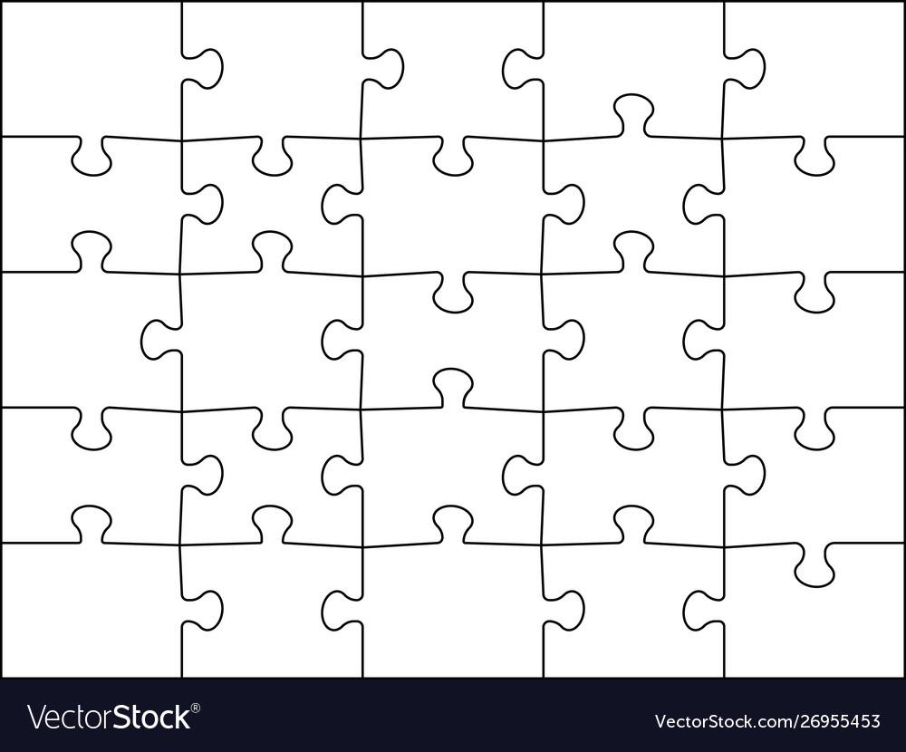 Puzzles grid 5x5 template jigsaws detail frame 25