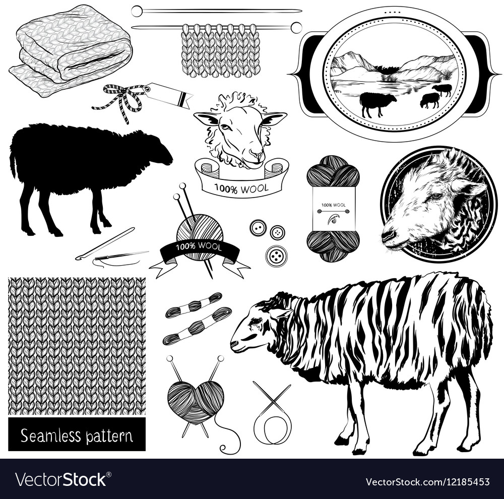 Sketch objects sheep silhouette tools for knitting