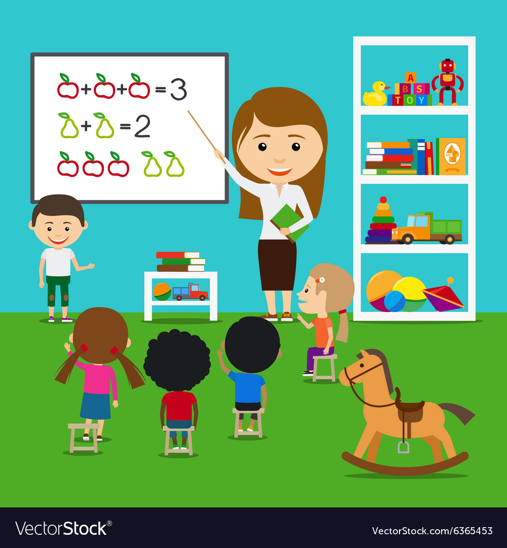 Teacher teaching kids vector image
