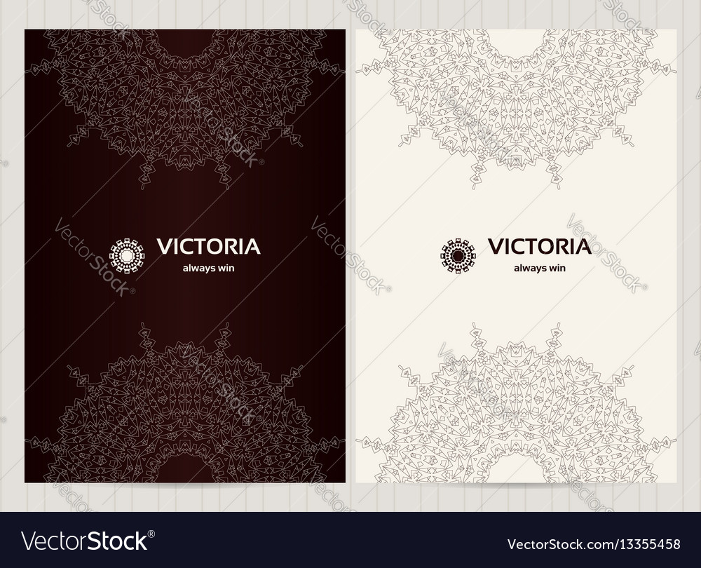 A4 format cards decorated with mandala in black