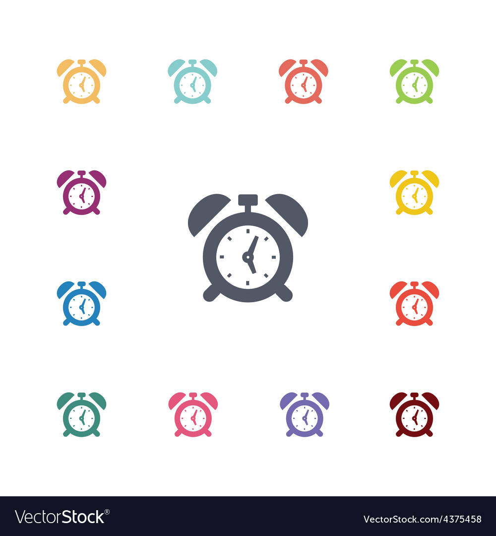 Alarm clock flat icons set