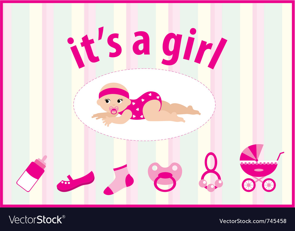 baby girl arrival announcement card royalty free vector