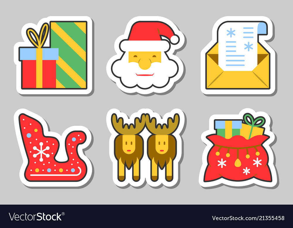 Christmas new year icon sticker set isolated