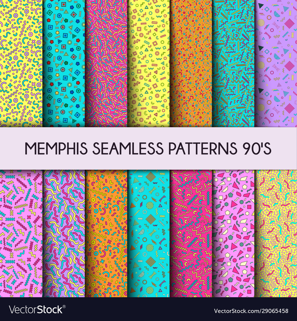 Collection seamless pattern fashion 80s 90s