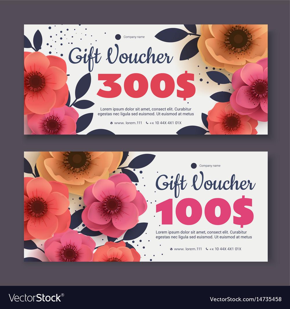 Elegant gift voucher coupon template vector image