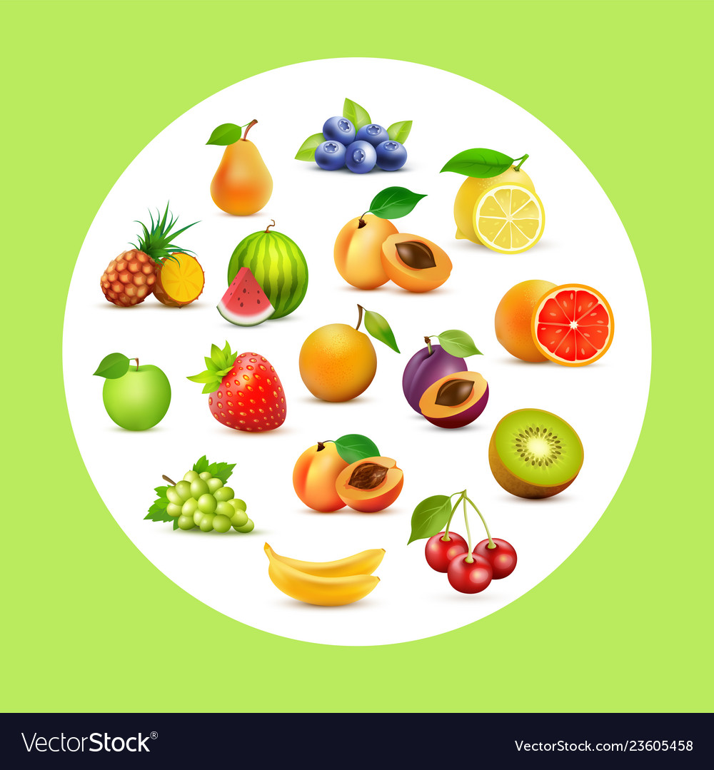 Fruit set background with fruits in circle on