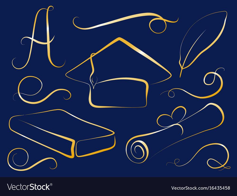 Golden graduation cap and education element