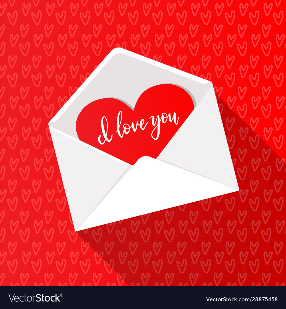 Greeting card with red heart in open white