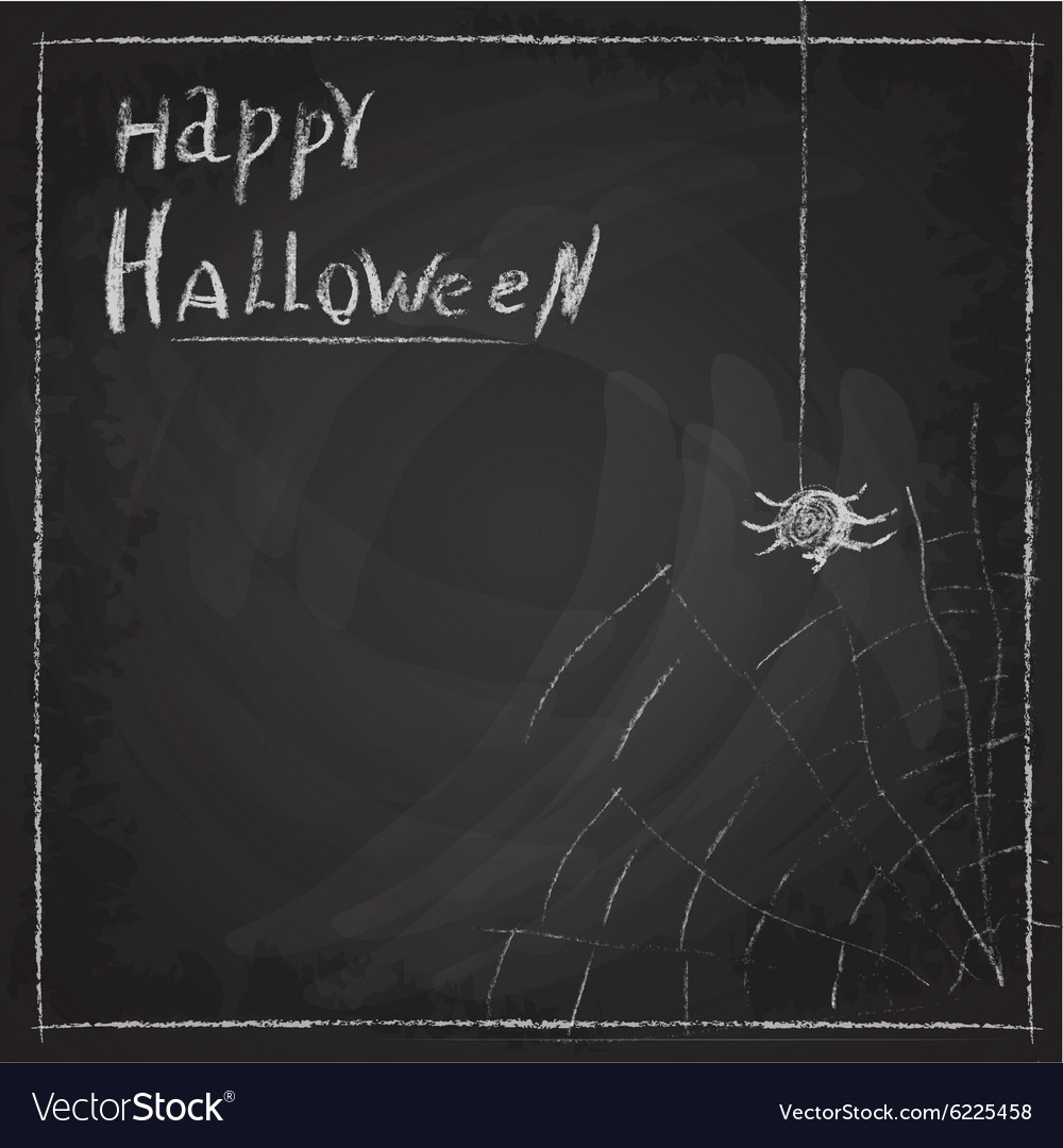 Halloween spider web painted on chalk on a
