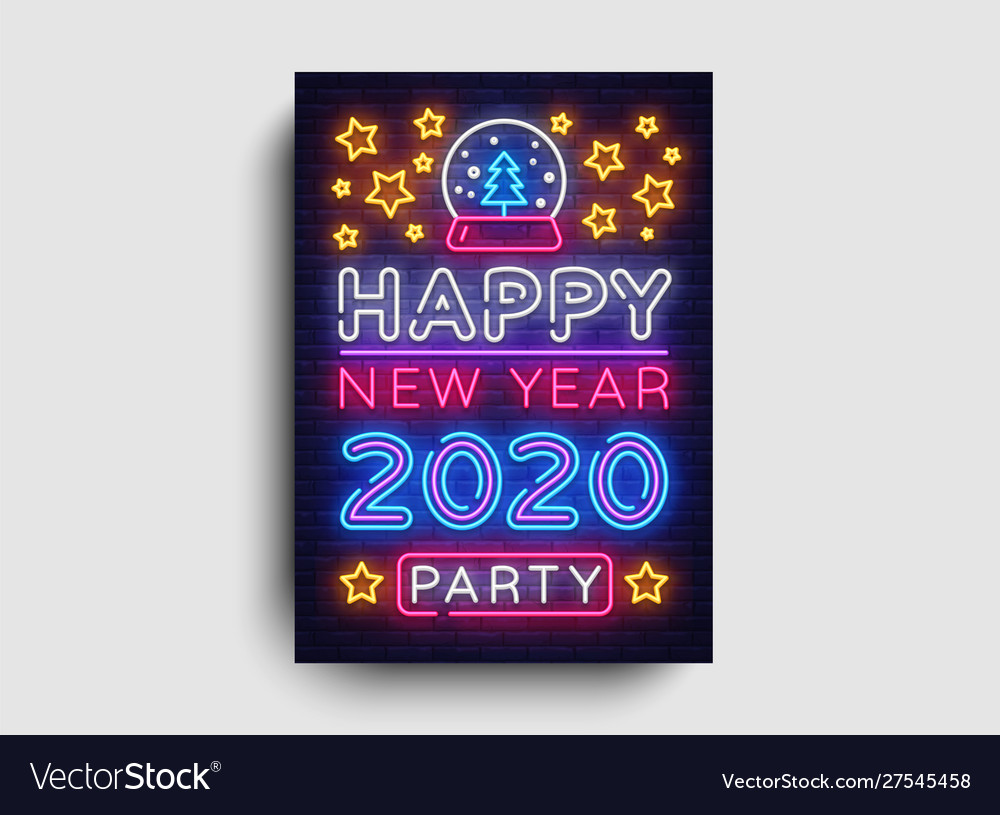 Happy new year 2020 party neon poster new