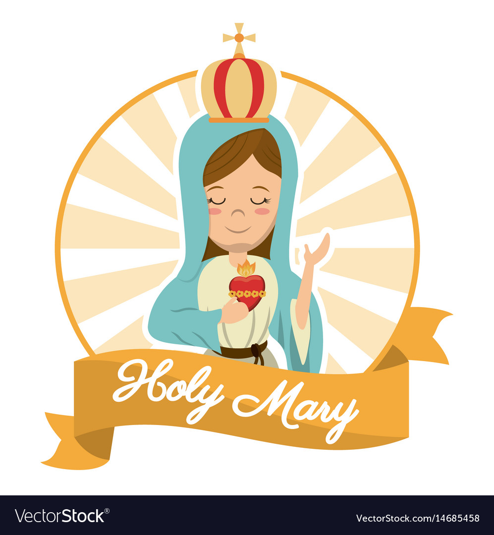 Holy mary sacred heart belief spirit image vector image