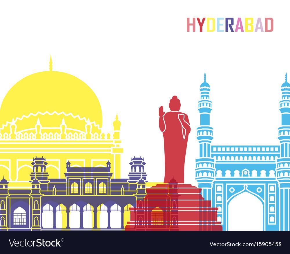 Hyderabad skyline pop vector image