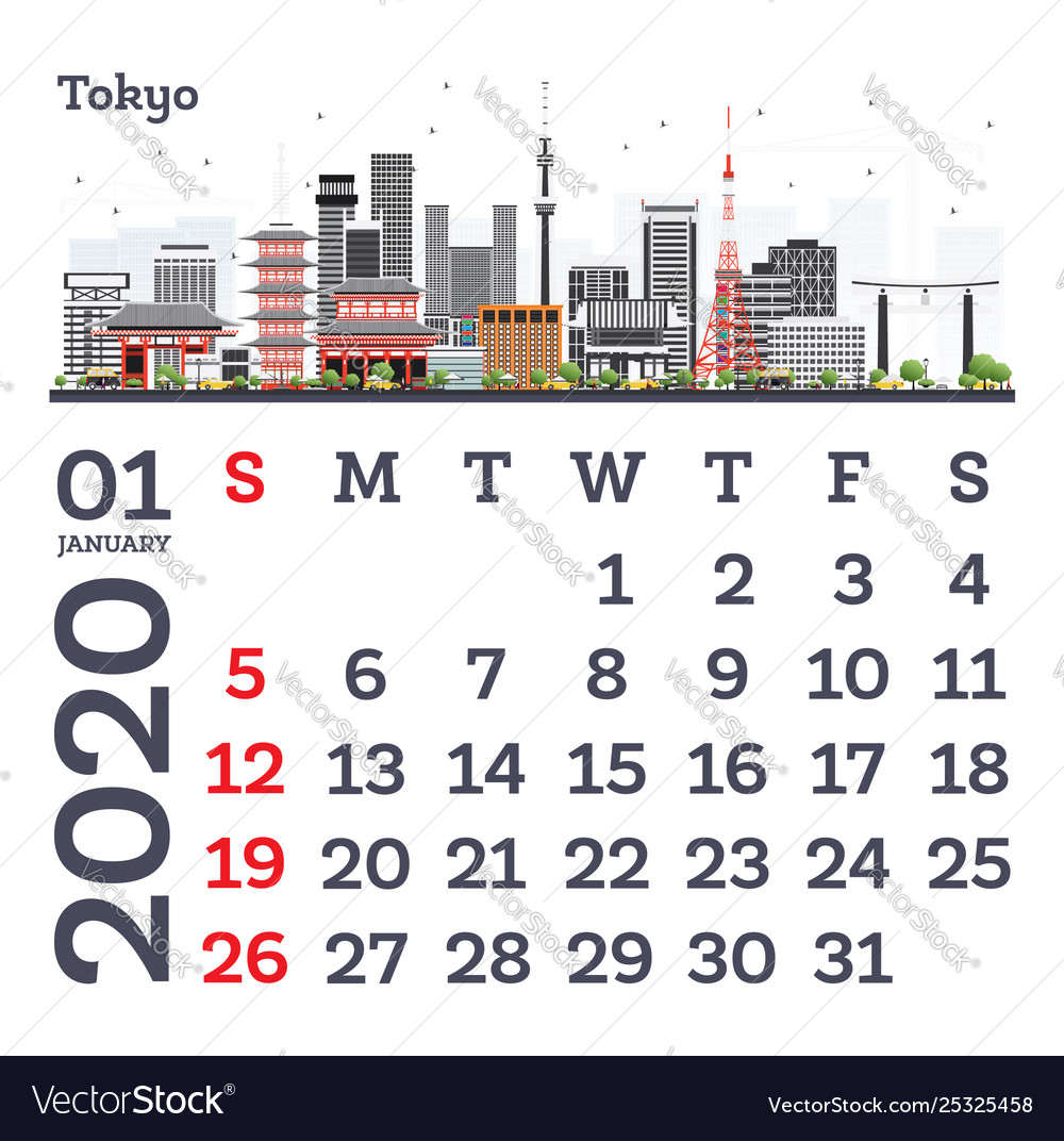 January 2020 Calendar Template.January 2020 Calendar Template With Tokyo City