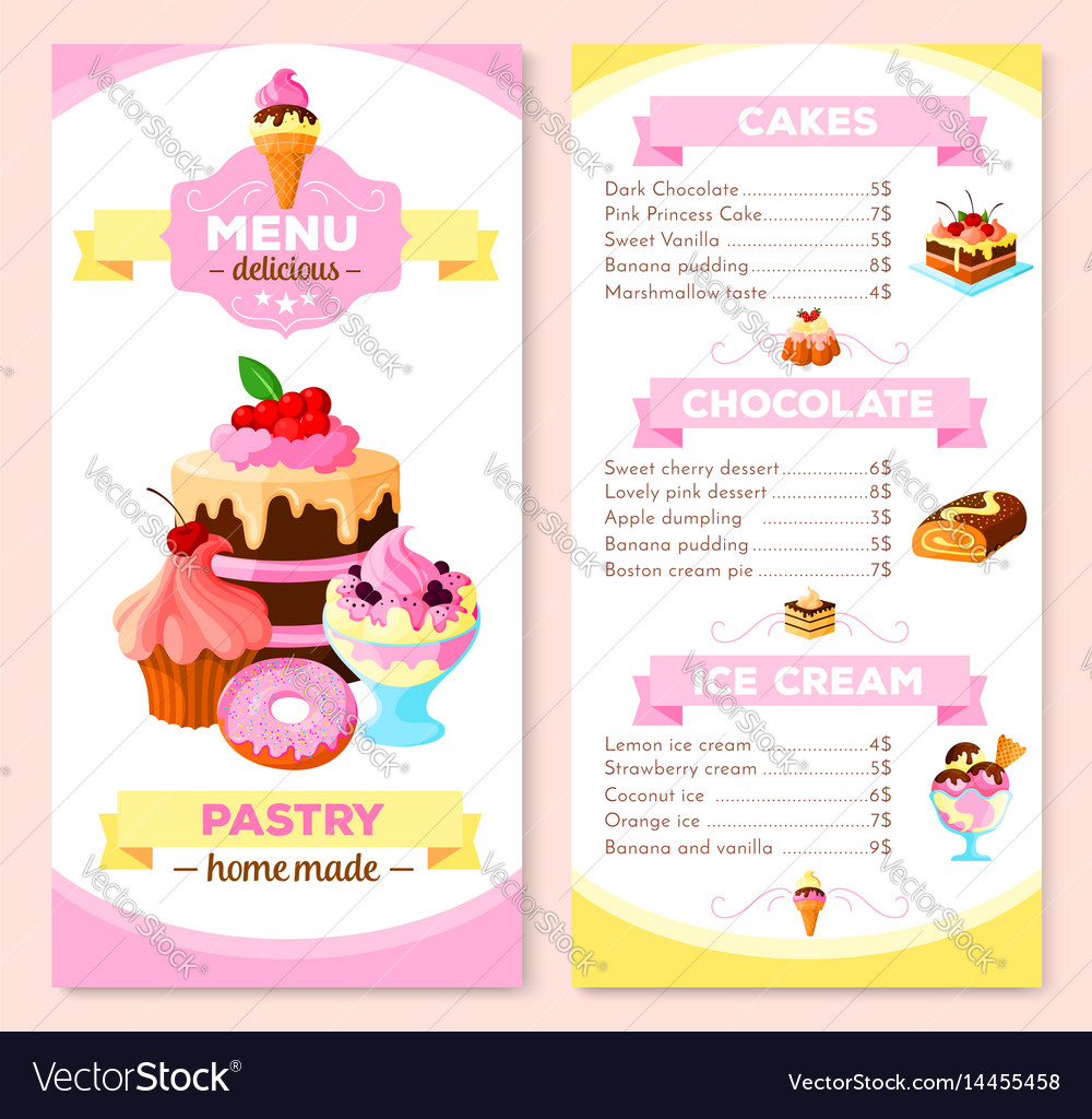 Menu template for homemade pastry cakes