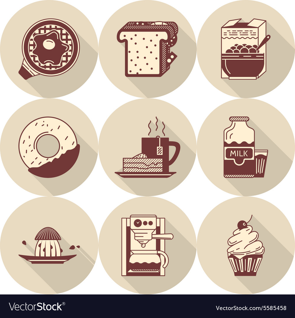 Morning breakfast brown icons set