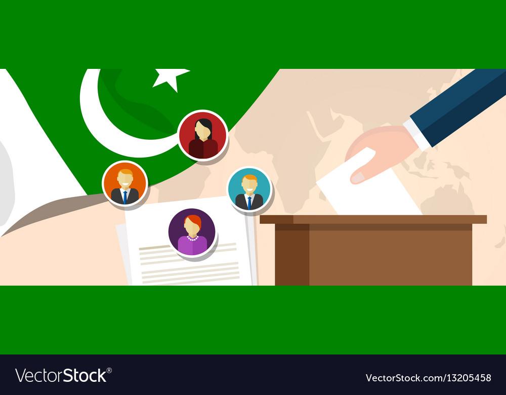 Pakistan democracy political process selecting vector image