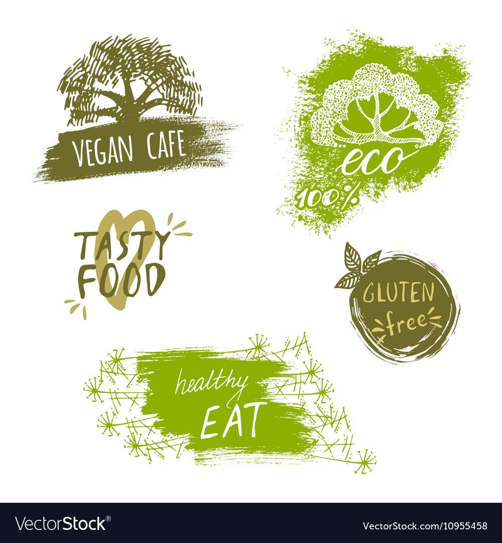 Retro style set of bio organic gluten free eco