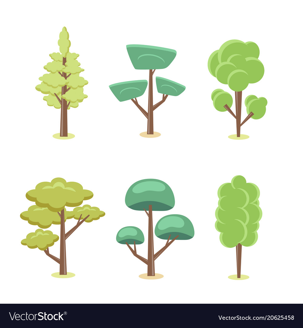 Set of cartoon abstract stylized trees natural