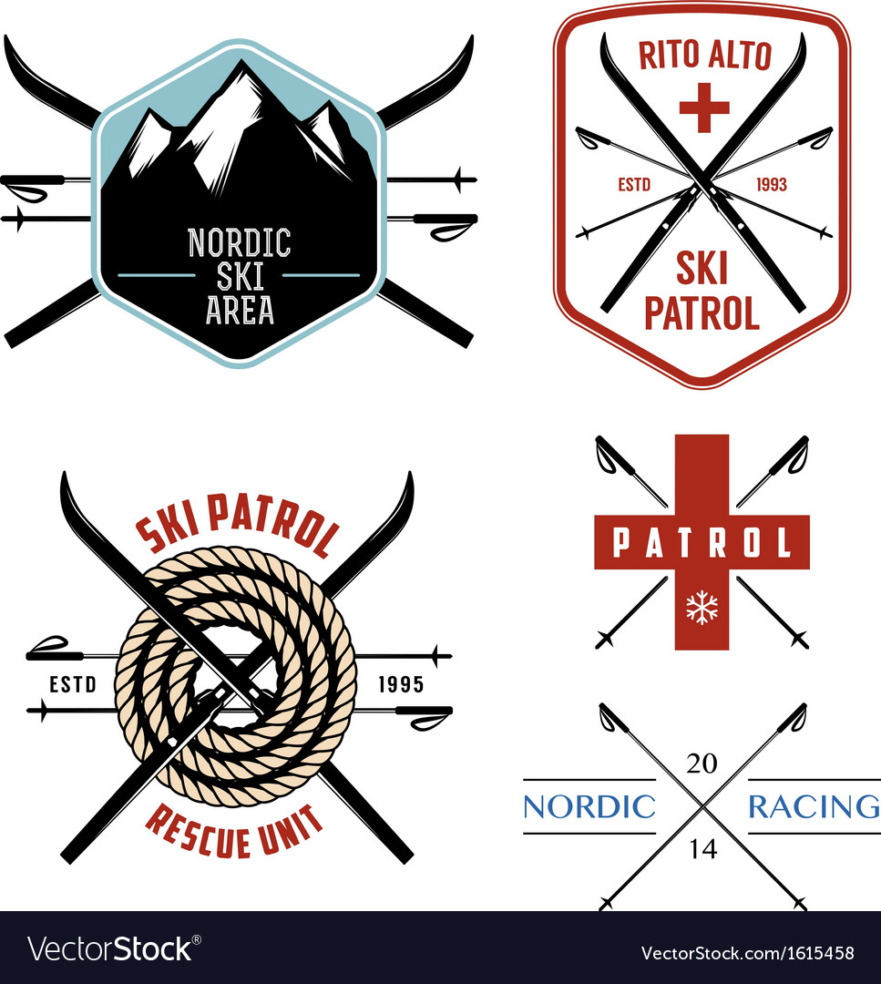Set of nordic skiing labels and emblems