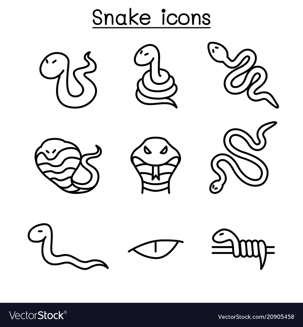 Snake icon set in thin line style