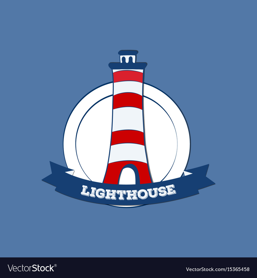 Sticker or label with lighthouse silhouette