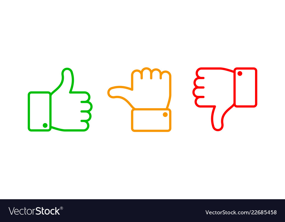 Thumbs up set green like red dislike and yellow